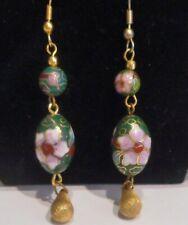 Green & Multi Color Cloisonne Beads Gold Tone Metal Drop Dangle Pierced Earrings
