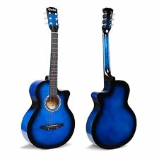 "38"" Blue Acoustic 6 String Guitar For Beginners School Student Adults Xmas Gift"