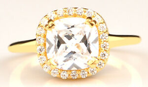 14KT Yellow Gold / 2.40Ct Cushion Shape Solitaire With Accents Anniversary Ring