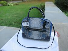 NWT Coach Embossed Python Large Flap Satchel/Blue Multi/  Cross Body Strap-$598