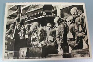 Vintage 1940's Vet Bring Back Palermo Italy Catacombs Postcard Tombs Skeletons 1