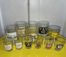 12 WHISKY/SPIRIT ADVERTISING TUMBLER & TOT/SHOT GLASSES GOOD CONDITION VTG RETRO