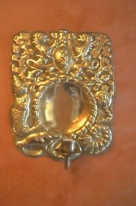 A magnificent solid brass embossed wall sconce Gdansk coat of arms