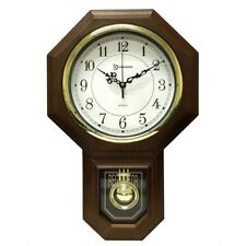 Pendulum Wall Clock Chime Vintage Faux Wood Schoolhouse School Brown Traditional