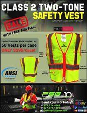 ANSI Class 2 Hi-Viz Safety Vest - 2-Tone - CLOSEOUT - Case Lot of 50 Vests - 2X