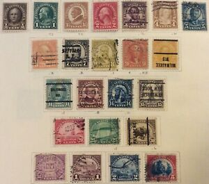 Series of 1923-25 1/2c-$5 regular issue set, Scott #551-573, Used/MH, F-VF