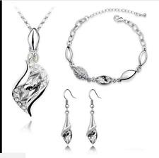 Party Jewellery White Crystal Eyes Drop Earrings Pendant Necklace Bracelet Set