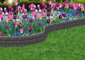 Primeur 15cm Grey Ultra Curve Rubber Garden Lawn Border Edging Brick Flexible