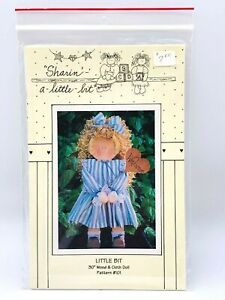 """Sharin A Little Bit 30"""" Wood and Cloth Doll Pattern #101 1993"""