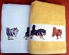 FINNISH LAPPHUND DOG LARGE HAND/GUEST TOWEL WATERCOLOUR PRINT SANDRA COEN ARTIST