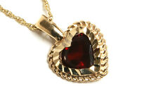9ct Gold Garnet Heart Pendant and Chain Necklace Gift Boxed Made in UK