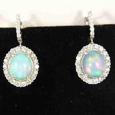 9.05 White Gold Opal & Diamond Fashion Women's Hanging earrings 14 Kt