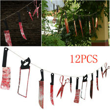 12X Halloween Decoration Hanging Props Knives Spooky 2.1M Haunted House Banner