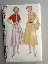 Vintage 1950s Simplicity Sun Dress Pattern 4282 Sz 14/32 Bolero Front Button