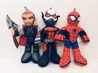 "Marvel Avengers Super Hero Squad 14""  Plush Thor Spiderman Antman Lot Of 3"
