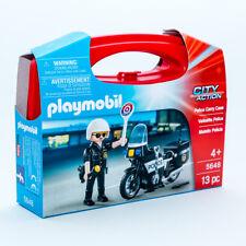 PLAYMOBIL US 5648 Police Carry Case Polizei Polizist mit Motorrad LNEU