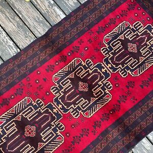 Handmade Afghan Accent Rug Geometric Tribal Design 4x6 Camel Hair Natural Dyes