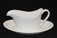 WEDGWOOD BONE CHINA GRAVY BOAT WITH PLATE COLOSSEUM PATTERN WHITE