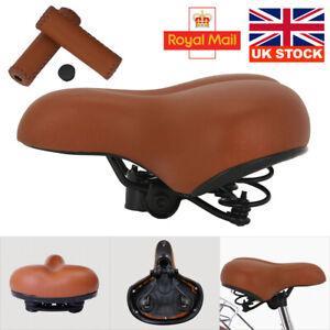 BROWN Saddle / Handlebar Grips Vintage Retro look style set Sprung Seat Bicycle