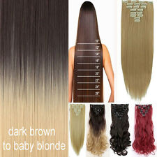US Fast Ombre Clip In as Human Remy Hair Extensions 8Pcs Full Head 18 Clips nw25