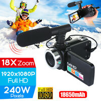 "Full HD 1080P 24MP 18X Zoom 3"" LCD Digital Camera Video Recorder Camcorder Mic"