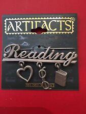 by Jonette Jewelry (Jj) Pewter Reading Charm Vintage Brooch