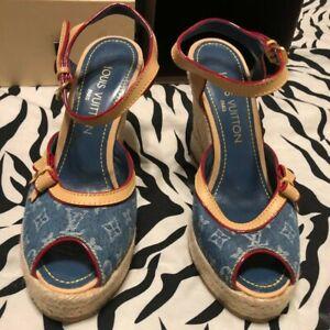 Louis Vuitton Espadrilles Wedge Heels Sandals Blue Denim Monogram US Size 6