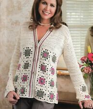 Medallion Sweater Granny Squares 6 Sizes Women'S Crochet Pattern Instructions