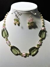 Women's ,Green,Pink and simulated pearl Bead Statement Earrings & Necklace  Set