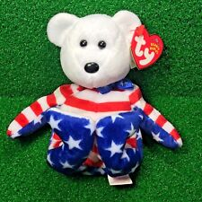 Retired Ty Beanie Baby Liberty The Bear (White Face) USA Independence Theme MWMT