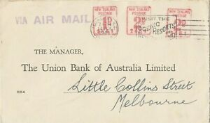 Stamp New Zealand 2d + 2d + 1d postage Auckland on Union Bank cover to Australia