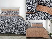 Sleepdown ZEBRA PRINT MONOCHROME Reversible Duvet Cover Set with Pillowcases