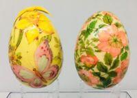 """Vintage 1979/ 1977 Reflections  6"""" Easter Egg -Paper Mache , Floral, Pink, Blue"""