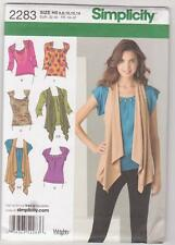 Simplicity Sewing Pattern 2283 Miss Knit Fabric Tops and Vest Sz 6-14