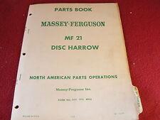 Massey Ferguson 21 Disc Original Dealer's Parts Book