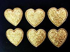 50 Glitter Heart Applique/Dust/bow/embellishment/Christmas/Die Cut/bow H418-Gold