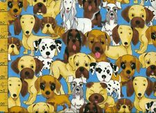 1/2 yard FLANNEL Adorable Dogs Puppies on Medium Blue BTHY