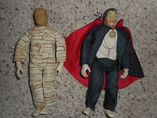 """Remco Universal Monsters Mummy and Dracula Lot, 1979 Vintage 8"""""""
