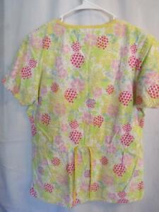 Small Dickies Cotton Blend Hospital Medical Scrub Top Pineapple Time