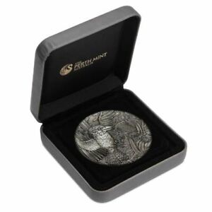 Australian Kookaburra 2018 2oz Silver Antiqued High Relief Rimless Coin