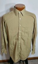 Hickey Freeman Men's Shirt Brown Button Front Long Sleeve 100% Cotton 16.5 - 33