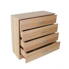 Chest of 4 Drawers Cabinet Storage Bedroom Furniture Oak Gloss Bedside Table