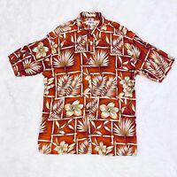 Vintage Campia Moda Men's Aloha Hawaiian 100% Rayon Shirt Red Floral Size Large