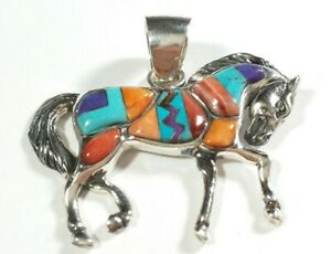 """925 STERLING SPINY OYSTER & TURQUOISE TROTTING HORSE 1 1/4"""" x 1 7/16"""" PENDANT"""