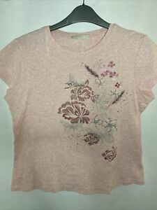 marks and spencer Ladies Top S 14 Blouse Millenial Pink Cap Sleeve 100% Cotton