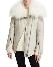 Moncle Choisia Goat Fur Collar Down Asymmetric Jacket NWT  1 SMALL Stone $1810