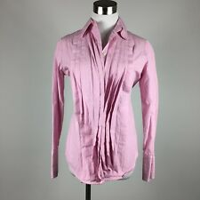 J Crew Womens Blouse XS Pink Pinstripes Pleated Flip Cuff Career