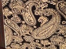 "New listing Jacobean Floral Paisley Black Gold-Tan Off White Cotton 22.5"" x 45"""