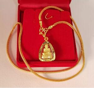 Necklace Phra LP Tuad Gold Plated 96.5% Micron Case Pendant Thai Buddha Amulet