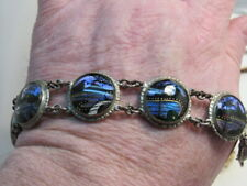 Vintage ALFANO Made in Rio Brazil Blue Morpho Butterfly Wing Round Link Bracelet